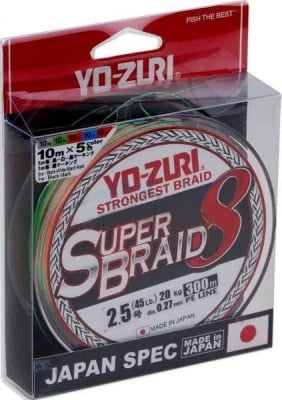 YO ZURI SuperBraid X8 300m Multicolor Плетено влакно