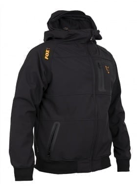 Fox Coll Black Orange Shell Hoodie Яке софтшел
