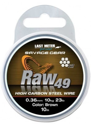 Savage Gear Raw49 Uncoated Brown 10m Влакно 7 нишково