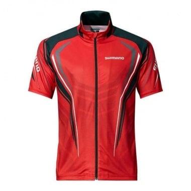 Shimano Full Zip Print Shirt Short Sleeve M Red (SH052PMRD) Тениска с цип