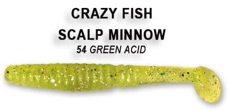 Crazy fish SCALP MINNOW 8см Силиконова примамка 54 Green Acid