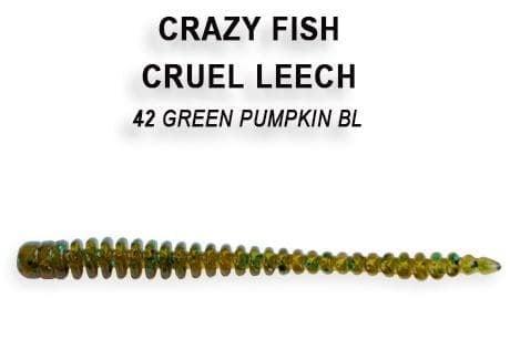 Crazy Fish CRUEL LEECH 10см Силиконова примамка 42 Green Pumpkin Bl
