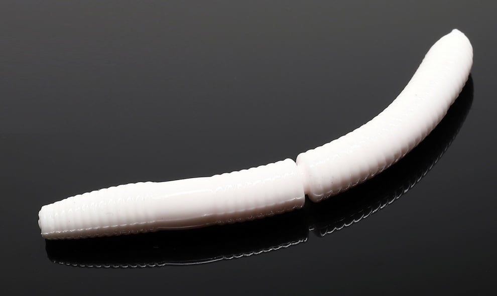 Libra Lures FATTY D'WORM 75 Силиконова примамка червей 001 White (вкус Рак)