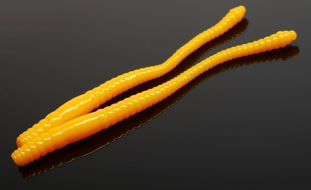 Libra Lures DYING WORM 80 Силиконова примамка червей 008 Dark yellow (вкус Сир.)