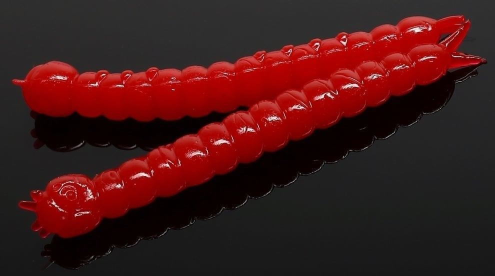 Libra Lures SLIGHT WORM 38 Силиконова примамка 021 Red (вкус Сир.)