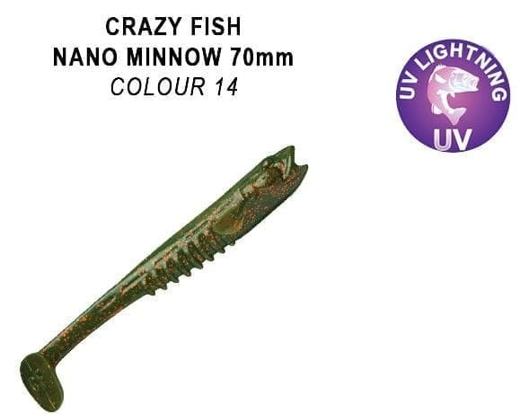 Crazy Fish Nano Minnow 7см. Силиконова примамка 14 UV Motor Oil