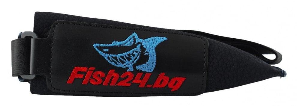 Fish24 Калпачок - кожен двоен с ластик Червен / Кожа Черен / Кожа