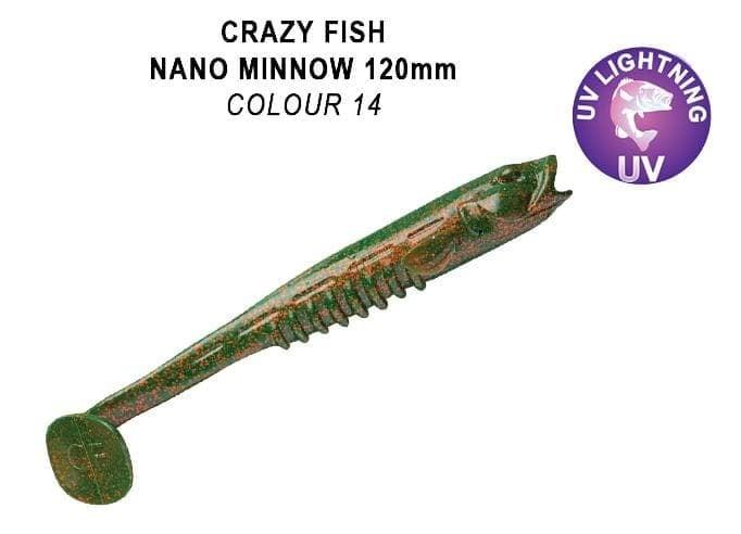 Crazy Fish Nano Minnow 12 см. Силиконова примамка 14