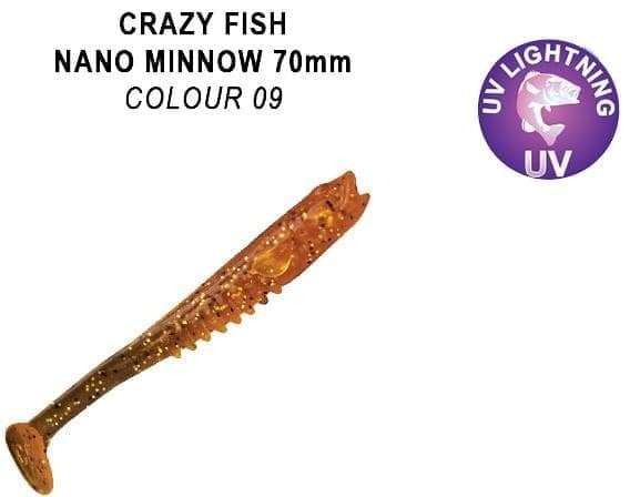 Crazy Fish Nano Minnow 7см. Силиконова примамка 09 Caramel