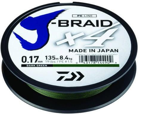 Daiwa J-Braid X4 GRN Плетено влакно JBX4GRN135-013