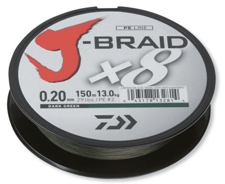 Daiwa J-Braid X8 Dark Green Плетено влакно JBRAIDDG150-0.20