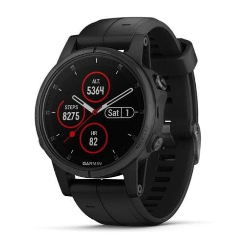 Garmin Fēnix® 5S Plus Мултиспорт GPS смарт часовник Sapphire черен с черна каишка