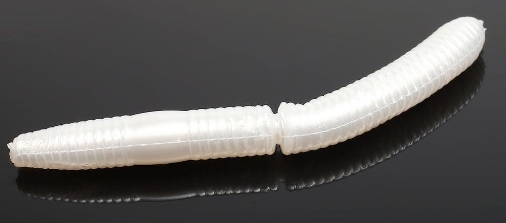 Libra Lures FATTY D'WORM 75 Силиконова примамка червей 004 Silver Pearl (вкус Сир.)
