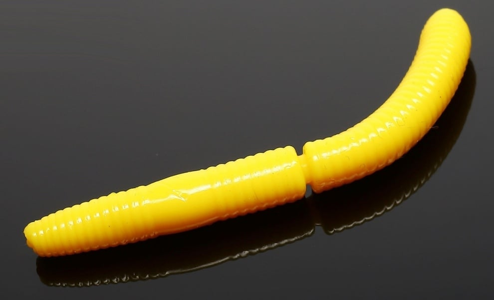 Libra Lures FATTY D'WORM 75 Силиконова примамка червей 007 Yellow (вкус Сир.)