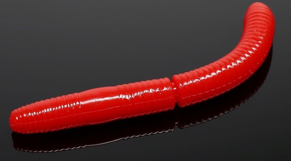 Libra Lures FATTY D'WORM 75 Силиконова примамка червей 021 Red (вкус Сир.)