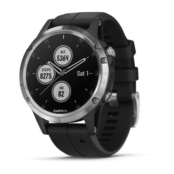 Garmin Fēnix® 5S Plus Мултиспорт GPS смарт часовник Сребрист с черна каишка