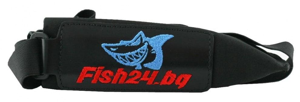 Fish24 Калпачок - кожен двоен с ластик Червен / Кожа Черен / Неопрен