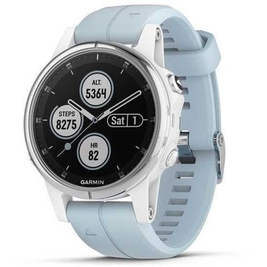 Garmin Fēnix® 5S Plus Мултиспорт GPS смарт часовник Бял с Seafoam каишка