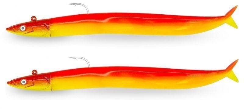 Fiiish Crazy Sand Eel №2 Double Combo 15cm Комплект силиконови примамки Dark Eel - Glow Mango Juice - UV