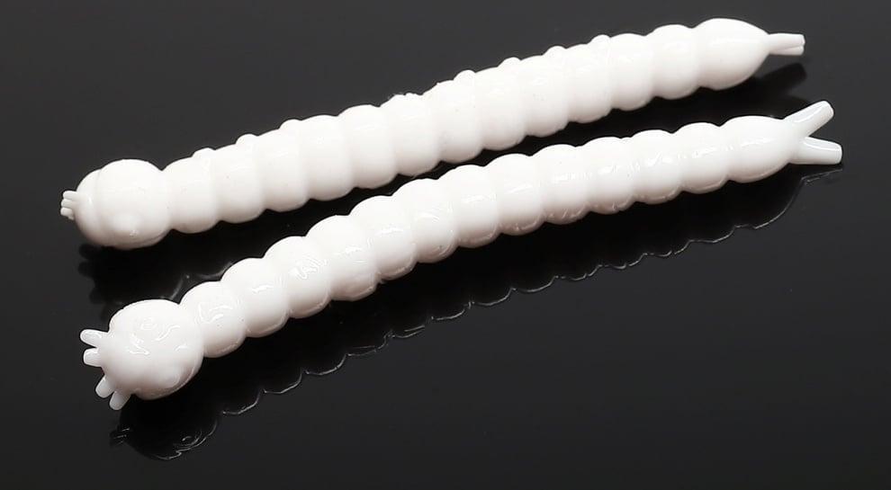 Libra Lures SLIGHT WORM 38 Силиконова примамка 001 White (вкус Рак)
